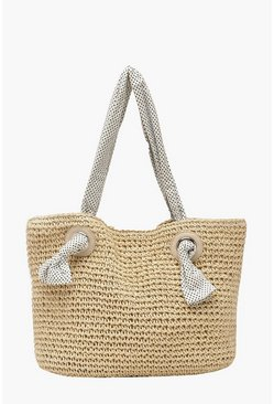 Womens Natural Straw Beach Bag With Spotty Handle