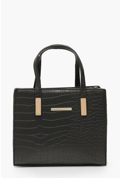 Womens Black Croc Mini Tote Day Bag