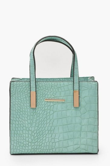 Womens Mint Croc Mini Tote Day Bag