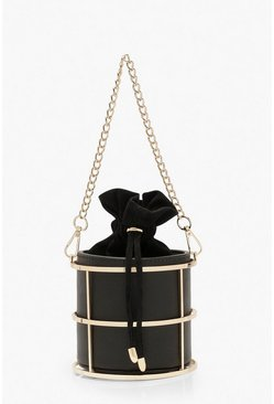 Metal Cage Duffle Mini Bag, Black, DAMEN