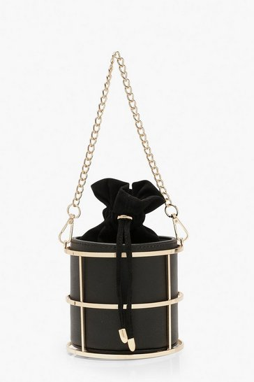 Womens Black Metal Cage Duffle Mini Bag