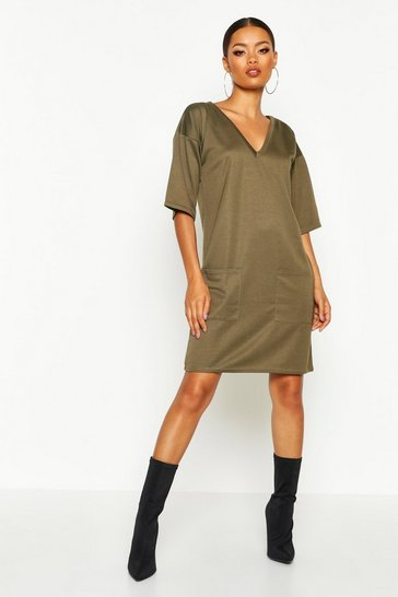 Womens Khaki Pocket Shift Dress