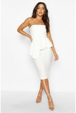 Womens White Bandeau Belted Peplum Midi Dress