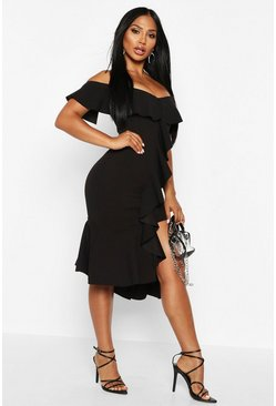 Womens Black Off The Shoulder Frill Detail Midi Dress