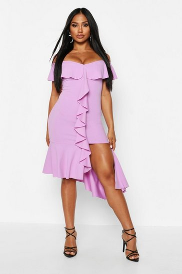 Womens Purple Off The Shoulder Frill Detail Midi Dress