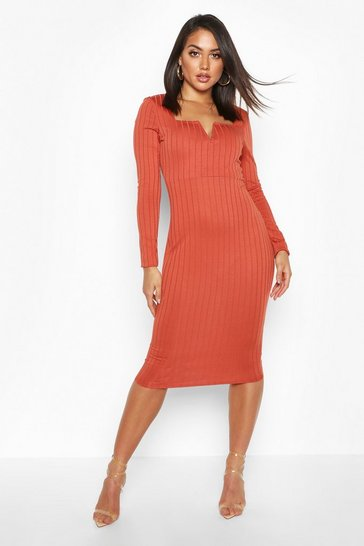 Womens Ginger Long Sleeve V Front Ribbed Midi Dress