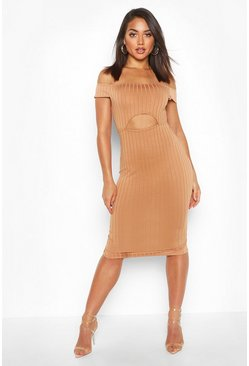 Caramel Ribbed Cut Out Midi Bodycon