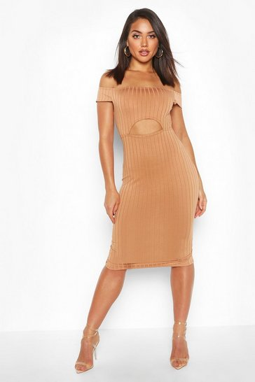 Womens Caramel Ribbed Cut Out Midi Bodycon
