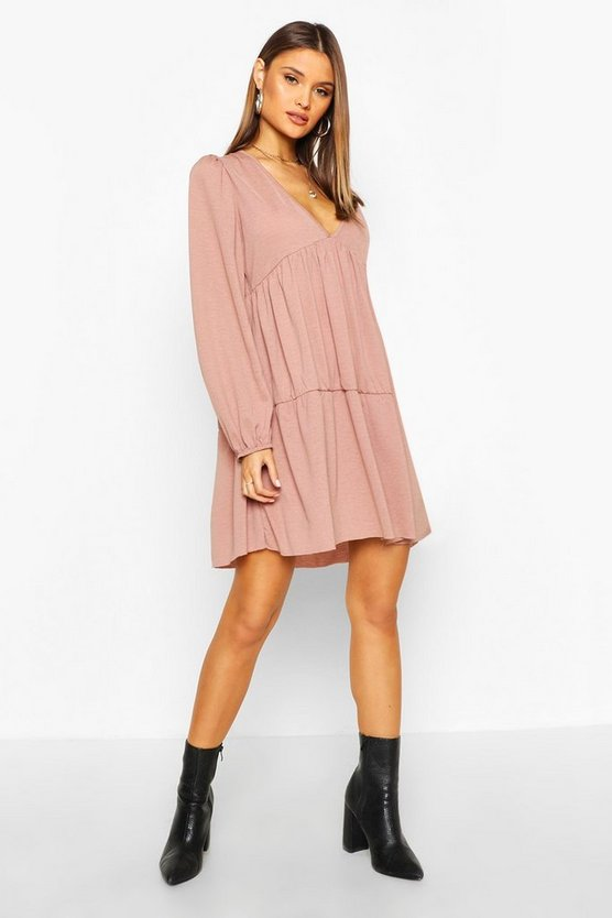 Mocha V Neck Tiered Smock Dress