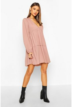 Womens Mocha V Neck Tiered Smock Dress