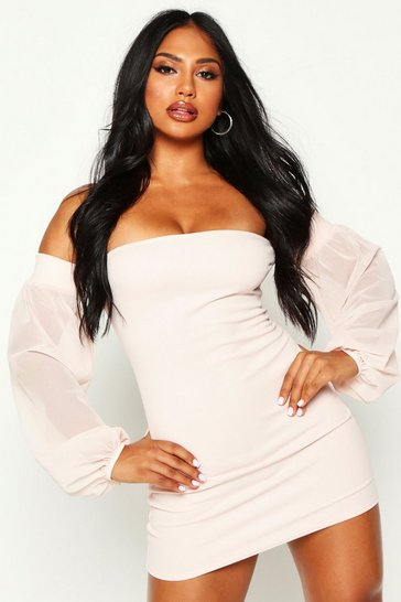 Womens Nude Off The Shoulder Bodycon Mini Dress