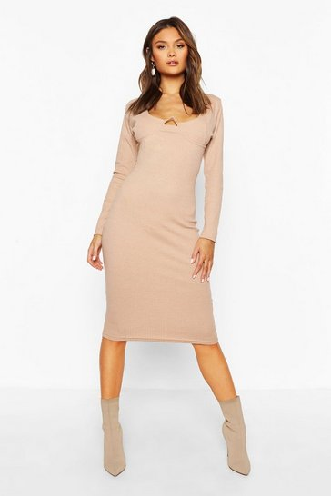 Womens Stone Rib V Bar Long Sleeve Midi Dress
