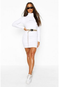 Womens White Rib High Neck Slogan Belted Bodycon Mini Dress