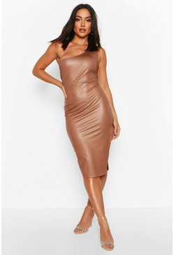 Faux Leather One Shoulder Midi Dress, Tan, Donna
