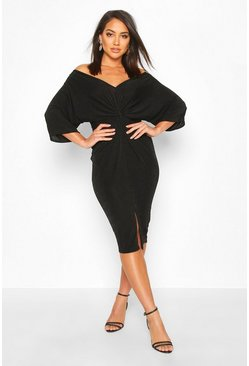 Black Slinky Off Shoulder Twist Midi Dress