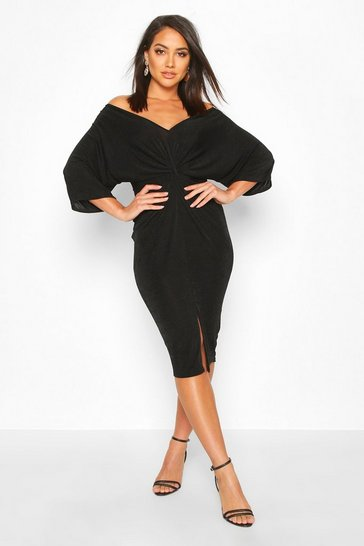 Womens Black Slinky Off Shoulder Twist Midi Dress
