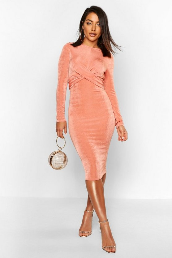 Slinky Long Sleeve Wrap Midi Dress by Boohoo