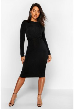 Black Slinky Long Sleeve Wrap Midi Dress