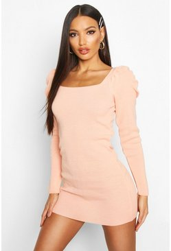 Dam Apricot Knitted Organza Mesh Sleeve Dress
