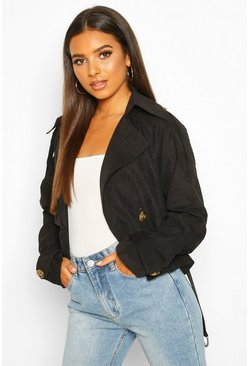 Womens Black Crop Double Breasted Trench Coat
