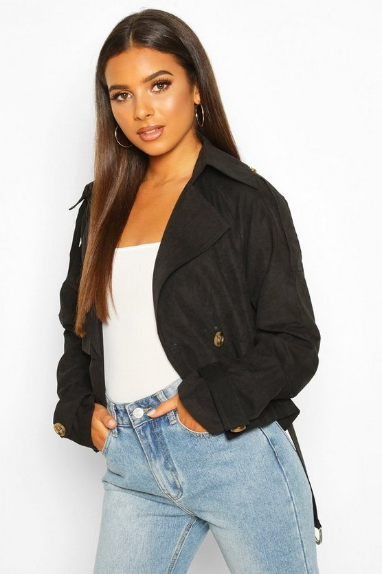Crop Double Breasted Trench Coat