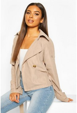 Camel Crop Double Breasted Trench Coat