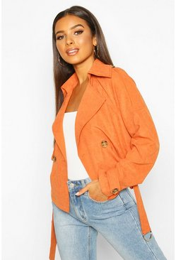 Womens Rust Crop Double Breasted Trench Coat
