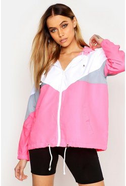 Womens Neon-pink Hooded Panelled Windbreaker