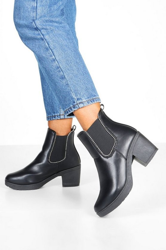 Black Stud Trim Chunky Chelsea Boots