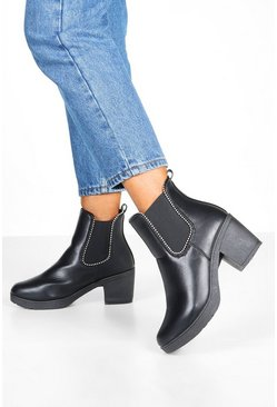Womens Black Stud Trim Chunky Chelsea Boots