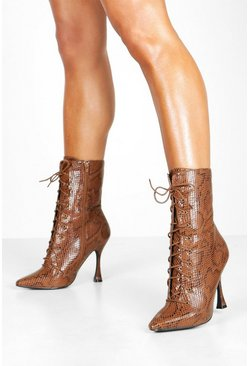 Womens Brown Snake Interest Heel Lace Up Shoe Boots