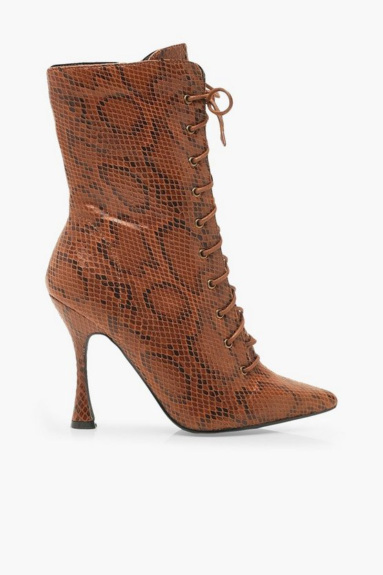 Snake Interest Heel Lace Up Shoe Boots