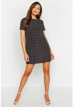 Womens Black Heart Print Shift Dress
