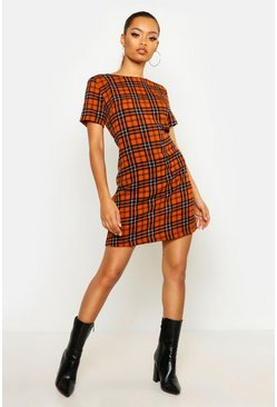 Womens Rust Check Print Shift Dress