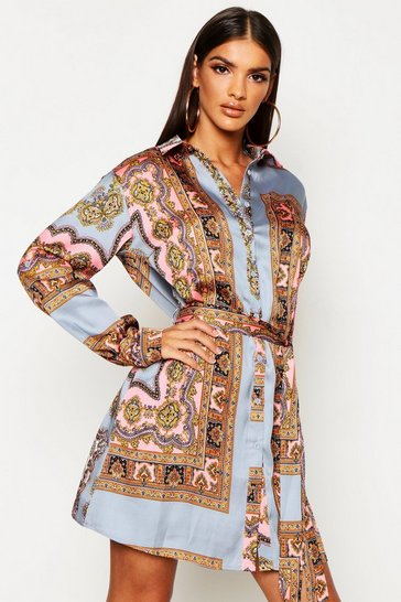 Womens Grey Paisley Print Shirt Dress