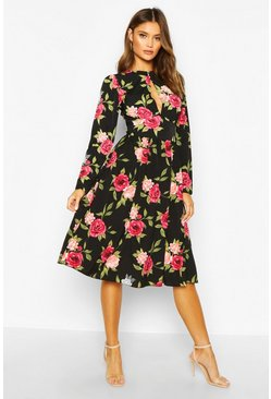 Floral Ruffle Long Sleeve Midi Dress, Black, Donna