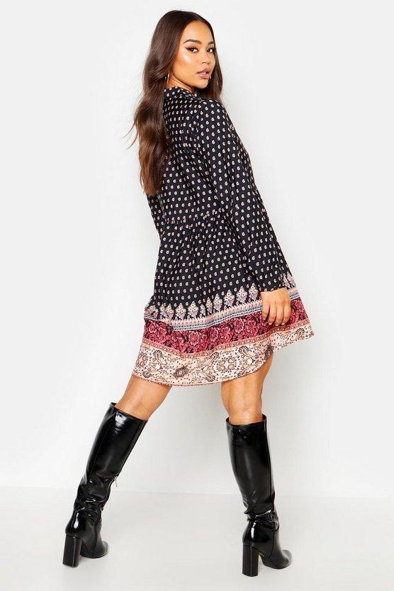 Paisley Border Shirt Smock Dress
