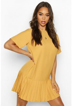 Pleated Hem Shift Dress, Mustard, MUJER