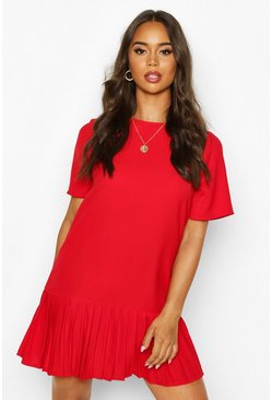 Red Pleated Hem Shift Dress
