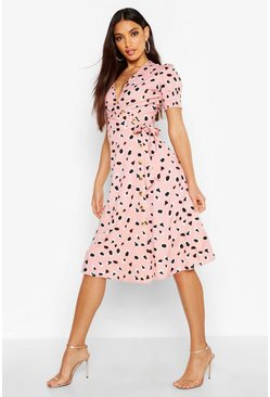 Womens Blush Abstract Dalmation Print Button Midi Dress