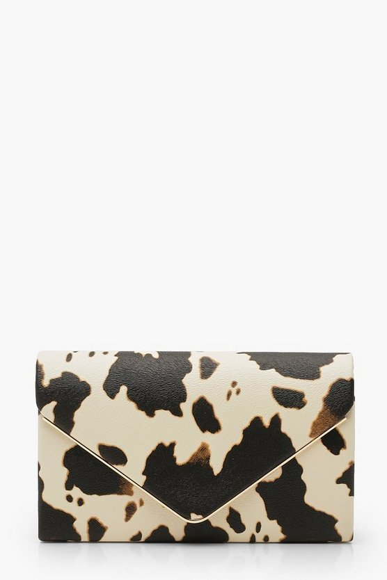 Womens Black Cow Print Clutch Bag & Chain