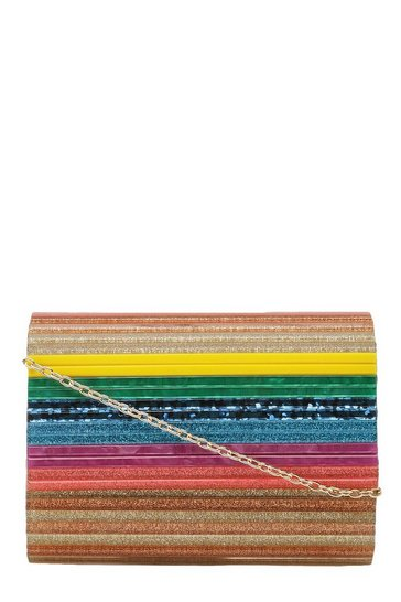 Womens Multi Premium Rainbow Resin Box Clutch Bag
