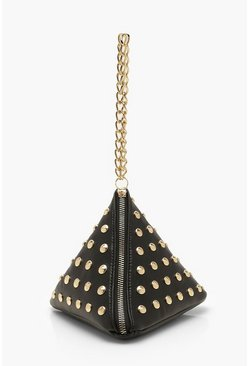 Womens Black Triangle Stud & Chain Handle Clutch Bag