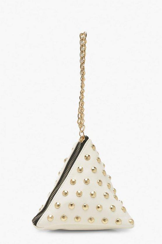 Triangle Stud & Chain Handle Clutch Bag