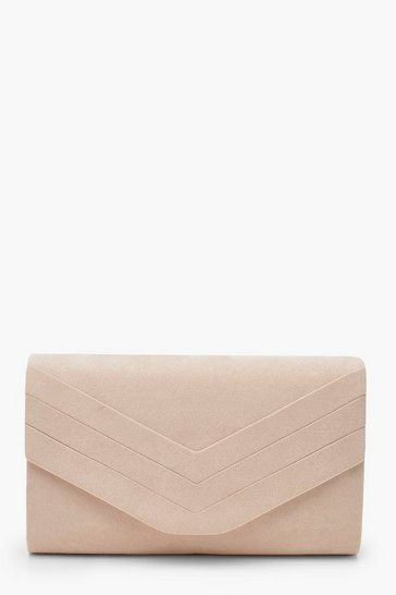 Womens Stone Suedette Chevron Clutch Bag