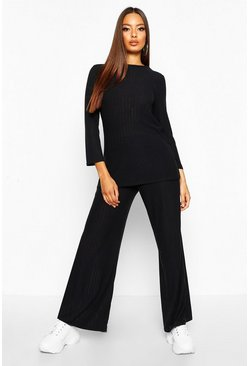Womens Black Rib Oversized Top & Ankle Grazer Trouser Co-ord