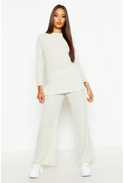 Womens Mint Rib Oversized Top & Ankle Grazer Trouser Co-ord