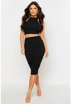 Womens Black High Neck Rib Top & Midi Skirt