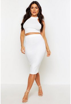 Womens Ivory High Neck Rib Top & Midi Skirt