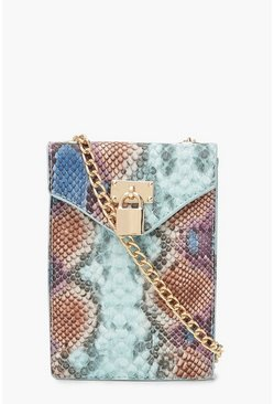 Womens Multi Snake Padlock Cross Body Bag